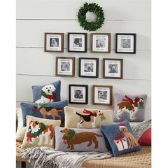 Holiday Dog Breed Hooked Pillows by Mud Pie