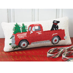 Red Truck and Dog Christmas Hooked Pillow by Mud Pie