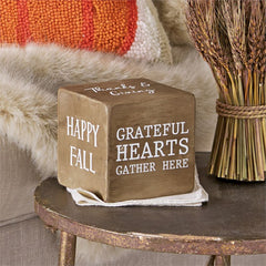 Thanksgiving Sentiment Block Fall Decor