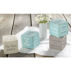 Distressed Beach Sentiment Blocks by Mud Pie