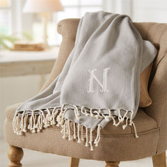 Herringbone Initial Throw Blanket by Mud Pie- Initials F and N