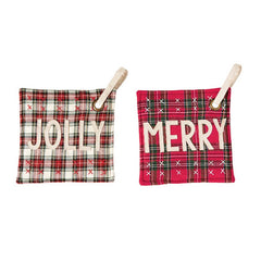 Tartan Sentiment Pot Holders by Mud Pie - Choice of Style