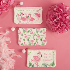 Fancy Flamingo Canvas Zippered Pouch