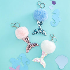 Sequin Mermaid Tail Pom Keychain