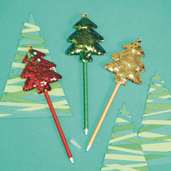 Merry and Bright Sequin Tree Pen with Jingle Bell - Choice of Color
