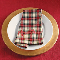 Tartan Dinner Napkins by Mud Pie - Ivory