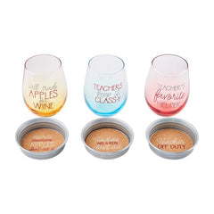 Teacher Wine and Coaster Set by Mud Pie - Choice of Saying