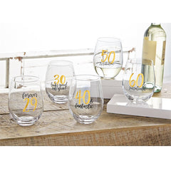 milestone birthday stemless wine glasses by Mud Pie