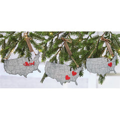 Christmas Home is Map Tin Ornaments by Mud Pie
