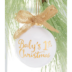 'Baby's First Christmas' Ceramic and Metallic Ornament by Mud Pie