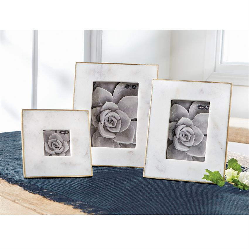 Gold Edge Marble Frames by Mud Pie - 3 Sizes Available