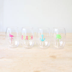 'Beach To Go' Stemless Wine Glass Set