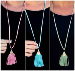 Shiloh Suede Long Tassel Necklace - Choice of Color
