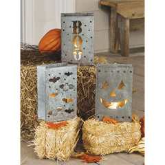 Tin Halloween Luminaries Fall Decor