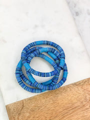 Disc Stretch Bracelet Stack - Blue