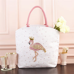 Flamingo Beaded Jute Tote Bag