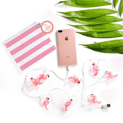 Flamingo Light Up USB Charger Cable in Storage Pouch