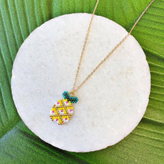 Aubrie Seed Bead Pineapple Necklace