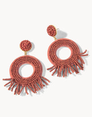 Beaded Ring Tassel Earrings by Spartina - Rust