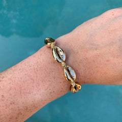 Metallic Gold Puka Shell Adjustable Bracelet