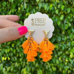 Kimmie Tassel Earrings - Neon Orange