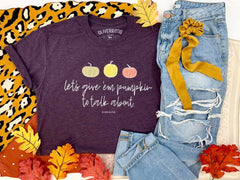 'Let's Give them Pumpkin to Talk About' Short Graphic Sleeve Tee