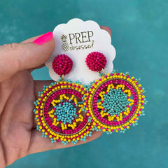 Athena Beaded Statement Earrings - Fuchsia