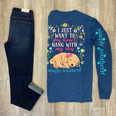 'Stay Home and Hang with My Dog' Long Sleeve Tee by Simply Southern