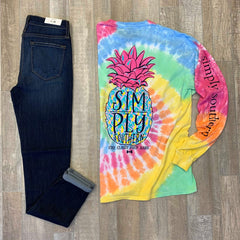 'Stay Classy Prep Hard' Pineapple Tie Dye Long Sleeve Tee by Simply Southern