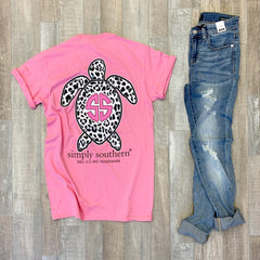 Leopard Print Turtle Short Sleeve Tee by Simply Southern