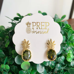 Remi Pineapple Stud Earrings - Olive