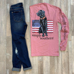 'All American' Black Lab Long Sleeve Tee by Simply Southern