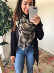 Veronica Oversized Leopard Scarf - Olive
