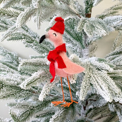 Felt Flamingo Ornament by PBK