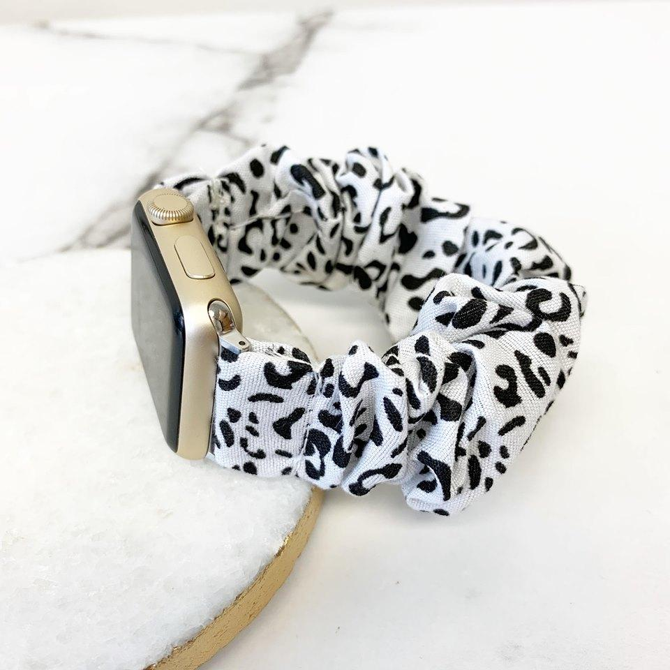 Scrunchie Smart Watch Band - White Leopard – Prep Obsessed