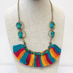 Simone Multi-Color Tassel Statement Necklace