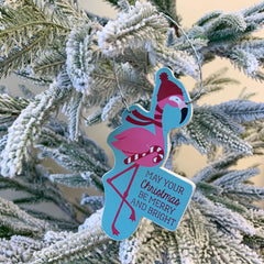 'Merry And Bright' Festive Flamingo Ornament by PBK