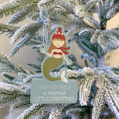 'Mermaid Little Christmas' Mermaid Ornament by PBK