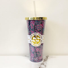 'Pineapple & Floral' Double Wall Tumbler by Simply Southern