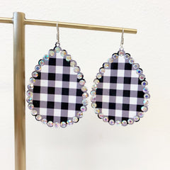 Jillian Glitzy Buffalo Check Dangles - White