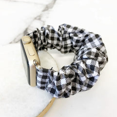 Scrunchie Watch Band - Black and White Buffalo Check
