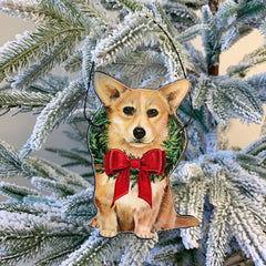 'Christmas Corgi' Dog Ornament by PBK