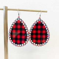 Jillian Glitzy Buffalo Check Dangles - Red