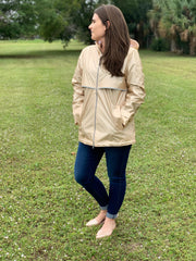 New Englander Rain Jacket by Charles River Apparel - Champagne/Floral (Ships in 3 Weeks)