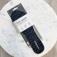 Women's Flat Socks - Black Geo