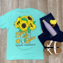 Youth 'Bloom with Grace' Sunflower Short Sleeve Tee by Simply Southern
