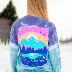 Mountain Scene Tie Dye Long Sleeve Tee by Simply Southern