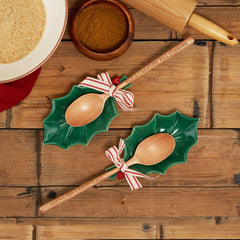 Holly Leaf Spoon Rest Set - Choice of Saying