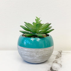 Turquoise Top Planter by PBK