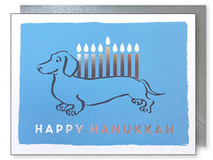 'Happy Hanukkah' Dachshund Card by J. Falkner